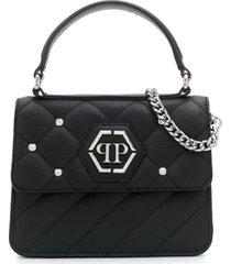 philipp plein bolsa tiracolo com logo hexagonal de tachas - preto