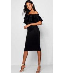 bardot layered frill detail midi dress, black