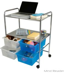 mind reader all purpose utility cart with handles and 4 storage drawers
