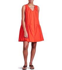 women's apiece apart rosarito drop waist organic cotton dress, size x-large - red