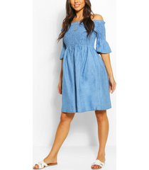 geplooide chambray off shoulder skater jurk, mid blue