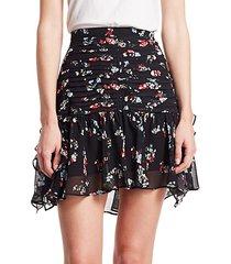 abby floral silk skirt