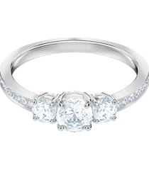 anillo attract trilogy round, blanco, baño de rodio