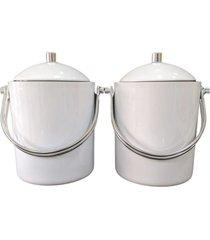 kit com 2 baldes para gelo em acrãlico branco com pinã§a - incolor - dafiti