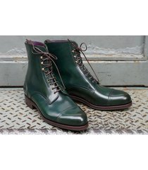 handmade green boots for men, cap toe ankle dress formal casual leather boot