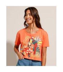 camiseta cropped papagaio manga curta decote redondo coral