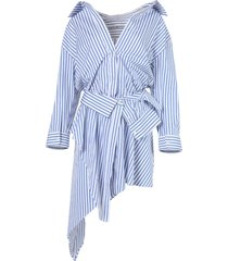 blue and white striped deconstructed shirt dress