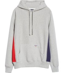 men's noah tricolor fleece hoodie, size x-large - grey