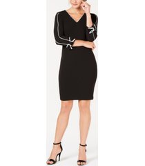 calvin klein petite v-neck piped sheath dress