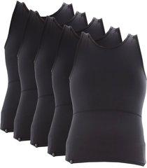 kit com 05 cintas modeladora e postural alta compressã£o bodyshaper - slim fitness preto - preto - masculino - dafiti
