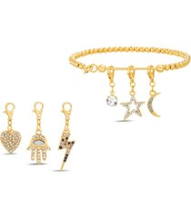 steve madden gold-tone beaded bracelet & interchangeable crystal charm set