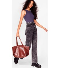 womens want croc on faux leather tote bag - chocolate