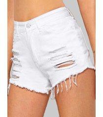distressed cuff off jean shorts