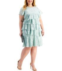 jessica howard plus size laser-cut ruffle dress