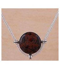 mahogany obsidian pendant necklace, 'essence of time' (peru)