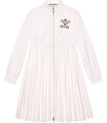 gucci gucci tennis embroidered dress - white
