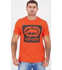 camiseta ecko savana ii estampada laranja - masculino