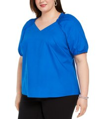 alfani plus size smocked-neck blouse, created for macy's