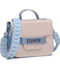 bolsa dhaffy palha alça trabalhada azul