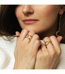 dwustronny otwarty pierścionek złocone srebro
