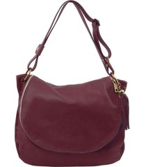 tuscany leather tl141110 tl bag - borsa morbida a tracolla con nappa bordeaux