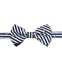 paisley & gray pre-tied bow tie navy & white floral