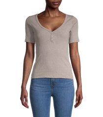 alternative women's v-neck short-sleeve henley - smoke grey - size xs