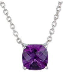 "amethyst solitaire pendant necklace (3 ct. t.w.) in sterling silver, 16"" + 2"" extender"