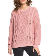 women's roxy england skies cable sweater, size x-small - pink
