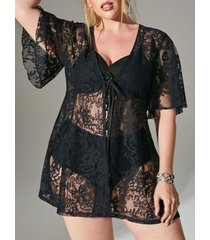 plus size tie front flower lace beach cover up