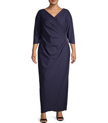alex evenings women's plus side ruched gown - navy - size 22w