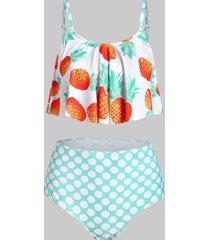 pineapple polka dot overlay tankini swimwear