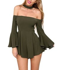 mono playsuits off shoulder sexy casual-verde