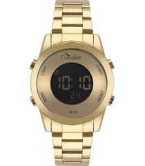 relógio condor feminino digital dourado cobj3279aa4x
