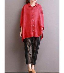 zanzea 2018 botón de la moda casual camisa con solapa mujeres otoño solid manga larga holgada blusa roja hem inicio de época alto-bajo -rojo