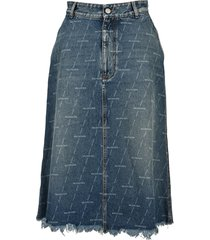 balenciaga logo denim skirt