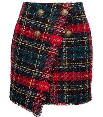 balmain tartan skirt