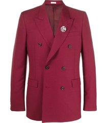 alexander mcqueen brooch-embellished blazer - red