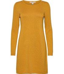 dresses flat knitted kort klänning gul edc by esprit