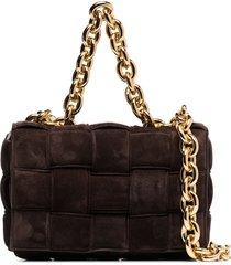 bottega veneta the chain cassette suede shoulder bag - brown