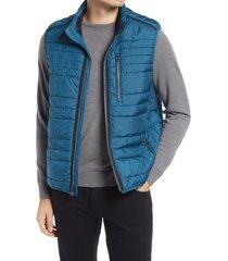 men's bugatchi quilted vest, size xx-large - blue