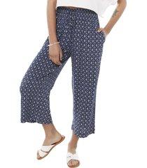pantalón culotte print azul mujer corona