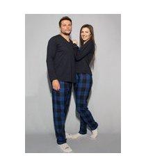 kit casal fem m, masc gg. pijama xadrez azul blusa preta