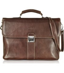 robe di firenze designer travel bags, dark brown double gusset leather briefcase