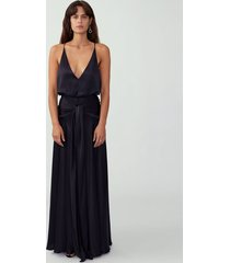 black v neck backless gown