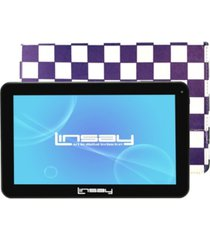 """linsay 10.1"""" quad core 16 gb android 6.0 tablet bundle with purple square leather case"""