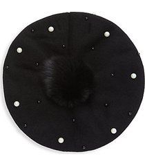 anogora wool-blend fox fur pom-pom beret