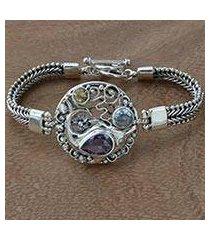 multi-gemstone pendant bracelet, 'royal dolphin' (indonesia)