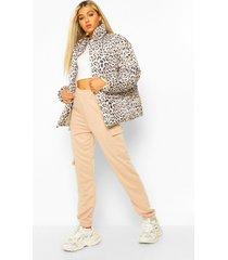 tall gewatteerde luipaardprint jas, brown