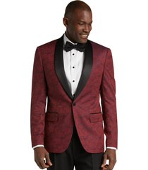 jos. a. bank men's slim fit tonal floral formal dinner jacket, burgundy, 46 long